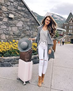 fall travel outfit. love the cashmere vest and the Louis Vuitton Neverfull