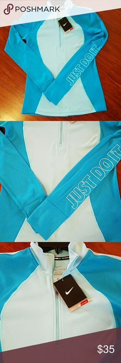 NWT Nike drive fit quarter zip sweater running size small gorgeous blue colors Nike Tops Sweatshirts & Hoodies