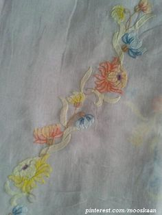 Shadow-work / Lucknow Chikan embroidery on organdy sari using Anchor Embroidery thread. I used mirror images of single motifs to create a long trellis of flowers..... (Series 1-M)