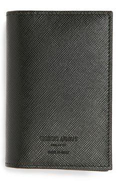 Giorgio Armani Saffiano Leather Bifold Card Holder | Nordstrom
