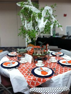 "This is my sister and my table at our church tea. Proudly called ""Fearless and True"" after our love for Auburn University."