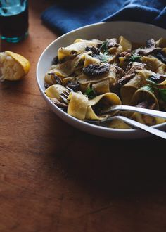papardelle with wild mushrooms.