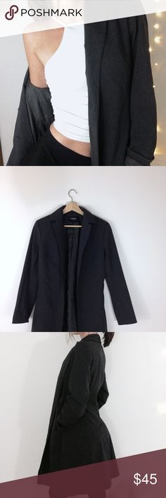 Express | Graphite Coat Express stretch graphite colored overcoat. Size 3/4 fits like a 6. Perfect condition. Zip up hidden pockets. Retail: $128.00 Express Jackets & Coats Trench Coats