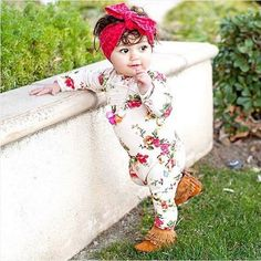 Newborn Infant Baby Romper Flower Long Sleeve Cotton
