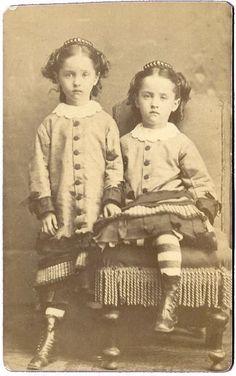 Twin Girls in identical Dress Tiara Hair Comb Oswego NY Antique CDV Photo | eBay