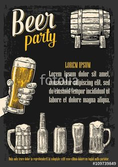 Vector: Two hands holding beer glasses mug. Glass, barrel, can, bottle. Vintage vector engraving illustration for web, poster, invitation to beer party. Isolated on dark background