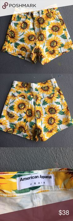 Sunflower American Apparel High Waisted Shorts Ugh waisted sunflower print shorts from American Apparel. Size 26/27, only worn a few times. American Apparel Shorts