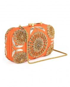 Orange Clutch with Zardozi Flower Diwali Delight - #HappyDiwali - Designer Clutch Bags - Luxurious Accessories - #LuxeSteals - Indian Designs - Designer of India - Fashion Trends - Ethnic Designs of India - Accessory Style - Indian Embroidery - Sequins - #Multicolor #Bags
