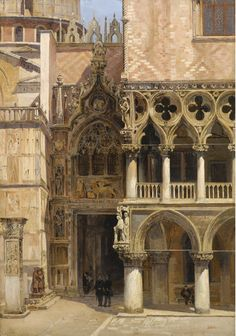 Antonietta Brandeis (Czech, 1849-1920). Porta della Carta, Doge's Palace, Venice. Oil on board 34,5 x 24 cm. 1886.