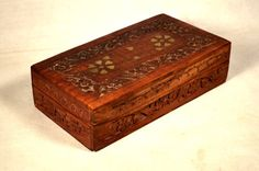 Wood Box Hand Carved Heart Floral Trinket Inlay India