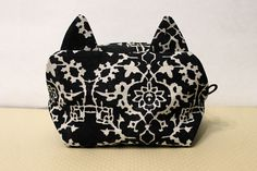 Cats Live On Kailash Cosmetic Pouch / Black and White Floral Print Make up Case Bag - pinned by pin4etsy.com