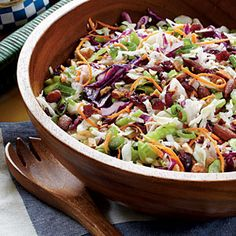 Cranberry-Almond Coleslaw  http://www.myrecipes.com/recipe/cranberry-almond-coleslaw-50400000115364/