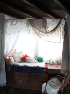 desk fort with lots of pillows and drapey drapes (this is probably really uncomfortable though)