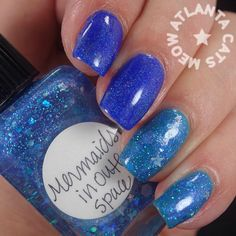 atlcatsmeow #notd using #lynnderella Mermaids in Outer Space over @Cristie Black Engelage pOlish Marine with @Molcas López Lacquer Homesick at Space Camp on first two fingers. #lovelynnderella