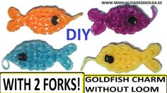 Gold fish charm with two forks without Rainbow Loom Tutorial. (Mini Figu...