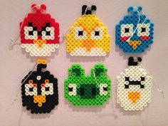 This is a 6-piece set of Angry Birds themed perler bead Christmas ornaments! Each ornament is bewtween 2 1/4 - 2 3/4 inches in length. Includes red