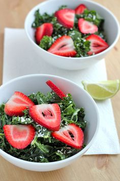 Massaged Kale Salad with Strawberries and Coconut-Lime Dressing Recipe: vegan, gluten-free, paleo and delicious!