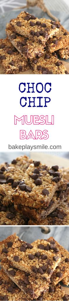 Easy chocolate chip muesli bars that take only 10 minutes to prepare (and even less time to eat!!). These are a winner with the whole family! Perfectly easy chocolate chip muesli bars that take only 10 minutes to prepare (and even less time to eat!!). These are a winner with the whole family! They're also egg-free and nut-free, making them the perfect lunchbox snack! #muesli #bars #slice #granola #chocolate #chip #kid-friendly #recipe #baking #thermomix