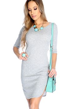 This sexy dress features; quarter sleeves, round neck, ribbed, rounded hem, followed by a fitted wear.95% Polyester, 5% Spandex.
