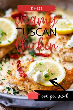 I have a soft spot for chicken in a rich, creamy sauce, and this one pan Keto Creamy Tuscan Chicken is my idea of perfection. Spinach, garlic, sun-dried tomatoes, and a touch of lemon juice provide just the right balance for the lightly breaded seasoned chicken and decadent sauce. Sometimes when I am craving an extra pop of flavor, I will sprinkle on some goat cheese. Gluten Free Recipes For Breakfast, Sugar Free Recipes, Lunch Recipes, Healthy Dinner Recipes, Low Carb Chicken Recipes, Keto Chicken, Yum Yum Chicken, Turkey Recipes, Ketogenic Recipes