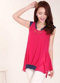 awesome Korean loose round collar sleeveless Fold garment denim splicing chiffon shirt -