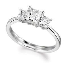 Stunning trilogy of princess cut diamonds