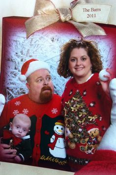 Pictures- JC Penny (provided cheesy background). Sweaters- Ebay (buy months ahead). Ugly Christmas Sweater family pics= the funniest!