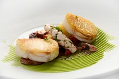 Roasted Cod and its Brandade with Avocado, Baby Squid and Chorizo