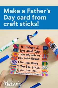 Make this roll-up Father's Day card with craft sticks to tell Dad how much you love him. Diy Father's Day Crafts, Father's Day Diy, Fathers Day Crafts, Summer Crafts, Cute Crafts, Craft Stick Crafts, Craft Sticks, Crafts To Do, Holiday Crafts