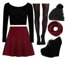 """maroon skater skirt"" by kyrstenann ❤ liked on Polyvore featuring SPANX, Boohoo, Forever Link, TOMS and Burton"
