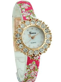 MerryDay Printed Flower Luxury Diamond Style Women Watch *** Find out more about the great product at the image link.(This is an Amazon affiliate link)