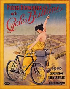 CYCLES BRILLANT 1900 EXPOSITION UNIVERSELLE BEAUTIFUL GIRL BICYCL