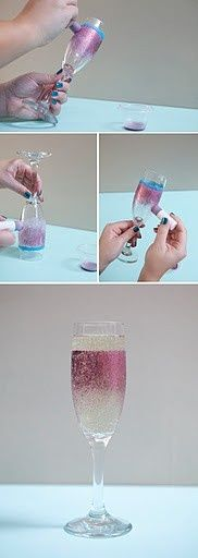 DIY Painted Champagne Glasses