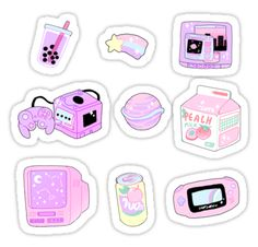 some cute aesthetic stickers to use on your electronics, planner, scrap-booking, letters or whatever! • Also buy this artwork on stickers.