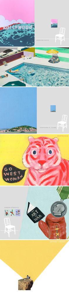 """West"" - a group art exhibition at Fancy Schmancy Gallery featuring new original work by Anthony Zinonos, Jennifer Davis, Martha Rich, Sandra Eterovic, Jessica Brilli, and Stephanie K. Clark."