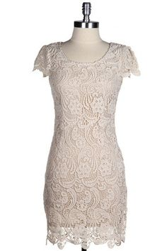Now & Forever Lace Dress - Natural