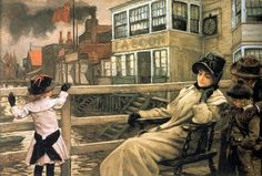 Waiting For The Ferry, by James Tissot (1836 – 1902, French)