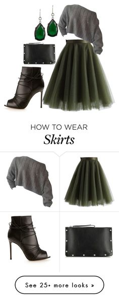 """Fall Skirt"" by kameestlye on Polyvore featuring Chicwish, Kenneth Jay Lane, Gianvito Rossi, Marc by Marc Jacobs, skirt, shoes and marcjacobs #greentulleskirt"