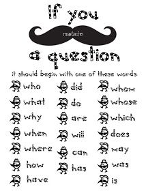 """Classroom Freebies: I Mustache You A Question Packet. I'm thinking """"auf Deutsch""""! Just change the words to German question words! Teaching Language Arts, Speech Language Therapy, Teaching Writing, Speech And Language, Teaching Tools, Teaching English, Teaching Ideas, Speech Therapy, Speech Pathology"""