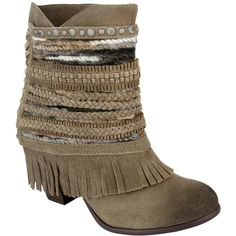 Naughty Monkey Taupe Fringe Poncho Leather Ankle Boot featuring polyvore, women's fashion, shoes, boots, ankle booties, ankle boots, taupe ankle boots, leather platform booties, short fringe boots, platform booties and faux-leather boots