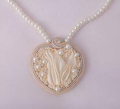 Soutache shibori necklace. Beaded cream heart by MollyGDesigns