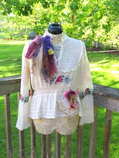 One of a Kind Romantic Shirt Tattered Gypsy Boho by JacketsbyJahne, $98.00