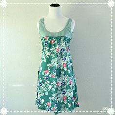 "🚨FINAL PRICE🚨Green Floral Dress Green floral and striped tank dress by Mynt Star. Has a side zipper closure. In great condition!  | Measurements | Size: Small Length: 33"" Bust: 29""  