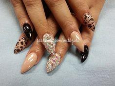 Cream and black nail art designs