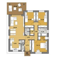 The floor plan of bungalow is designed in such a way that all the space is completely utilized while there is a lot of storage space at the same time. This bungalow offers 3 bedrooms on a total floor area of 115 Modern Floor Plans, Small House Floor Plans, Family House Plans, Best House Plans, Bedroom House Plans, Dream House Plans, Simple Bungalow House Designs, Plan Ville, Brick Cladding