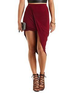 Draped Asymmetrical Wrap Skirt: Charlotte Russe