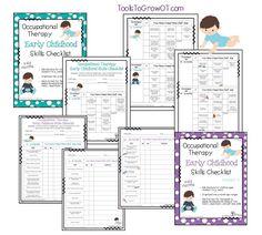 Occupational Therapy Early childhood skills checklist. Early intervention. Fine motor. Self help skills. Visual motor skills. www.toolstogrowot.com