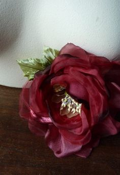 Silk Rose in RED Velvet and Silk Organdy for Bridal,  Millinery, Corsages, MF101