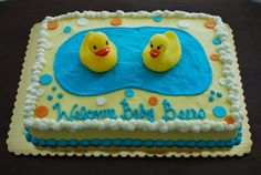 Rubber Ducky Baby Shower Cake by Snacky French