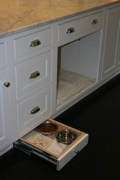 hidden dog bowl drawer - Google Search